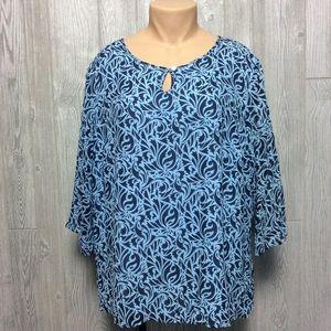 Sweet Blue Printed Blouse PLUS SIZE 24W